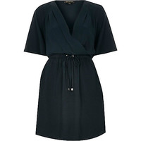 River Island Womens Dark green wrap front kimono sleeve dress