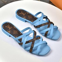 LV Louis Vuitton new product stitching color printing hollow cross strap ladies beach sandals slippers Shoes Blue