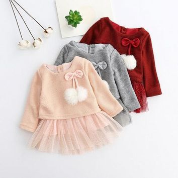 Pom Pom Knit Baby Tutu Dress