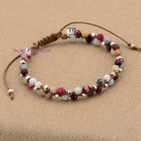 Exclusive Agate with Amazonite and Metal Beads Cord Braided Bracelet Boho Friendship Bracelets Manufacturer