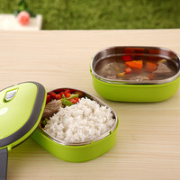 Thermal Insulated Lunch Box Stainless Steel Double Layer Thermos Food Picnic Storage Container Server Dinnerware Set