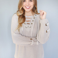 Evergreen Lace Up Sweater Stone