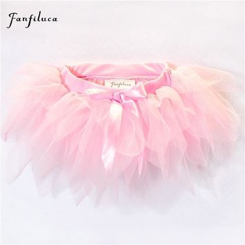 Fanfiluca Baby Girls Tutu Skirt 3 Layers Super Soft Mesh Lace Baby Tutu Skirts 4 Colors for 3M-24M