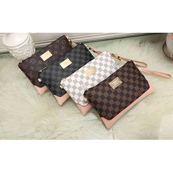 LV Louis Vuitton Stylish Women Men Office Bag Leather Handbag Wrist Bag Purse Wallet(4-Color) I-KSPJ-BBDL
