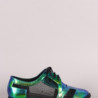 Iridescent Mesh Lace Up Oxford Flat