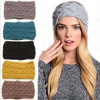 1Pc Winter Women Ear Warmer Widening Wool Hair Bands Three Rows Twist Knitted Headband Turban Headwrap For Girl Hair Accessories