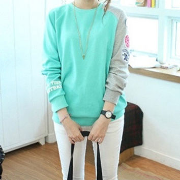 Sky Blue Cotton Korean Style Long Sleeve Round Neck Batwing Short Top Casual Women's Shirt Casual Sport Wear = 1945669956