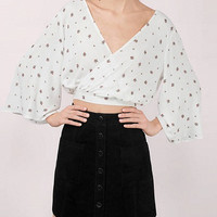 White Floral Print Bell Sleeve Wrap Cross Back Top