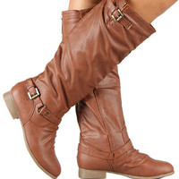 NEW Women's Zipper Military Low Flat Heel Buckle Riding Knee High Boot TAN Color