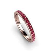 Ruby Wedding Band Ruby Anniversary Band Ruby Ring 14K Rose Gold or Palladium July Birthstone