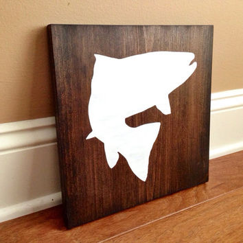 Fish Silhouette Wood Sign, Custom Fish Sign, Stained and Hand Painted, Choose Colors, Fishing decor, Cabin decor, Lake decor