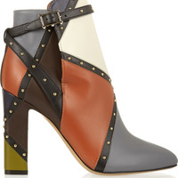 Valentino - Studded color-block leather ankle boots