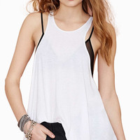 White Racer Back Loose Tank Top