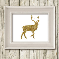 Christmas Deer Gold Glitter White Print Printable Instant Download Poster Wall Art Home Decor SF062