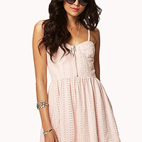 FOREVER 21 Sweetheart Eyelet Dress Pink Large