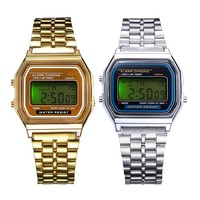 Luminous Watch Gold Silver Classic Men Women Stopwatch Retro square military Stainless Steel LCD Digital Sports Wrist Watches