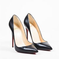 DCCK Christian Louboutin Black Leather Pointed Toe  So Kate 120  Pumps
