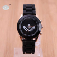 3 Leaf Grass Quartz Watch Stainless Steel For Women Or Men Silicone Sport Casual