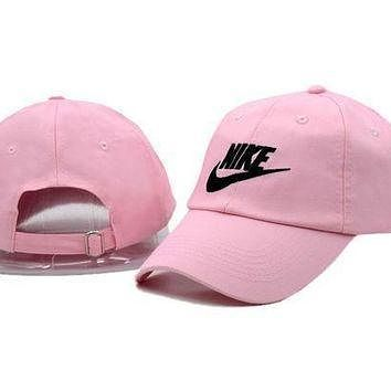 Fashion Pink Nike Embroidered Baseball Cap Hat