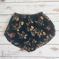 Black Floral Print Mini Shorts