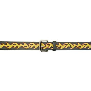 Yellow & Red Flames Black Leather Belt