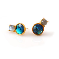 Amalfi Duo Studs with Abalone & Moonstone