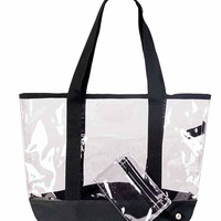 """DALIX 20"""" Clear Handbag Shopping Tote with Small Bonus Pouch (Transparent)"""