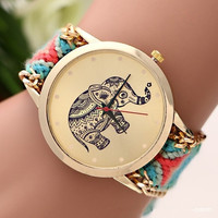 New Brand Hand-knitted Braided Elephant Friendship Bracelet Watch GENEVA Ladies Quarzt Watches relogio feminino With Thanksgiving&Christmas Gift Box= 1956893892