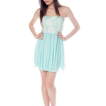 Sequin and Crochet Lace Tube Dress - Mint from Evening & Club at Lucky 21 Lucky 21