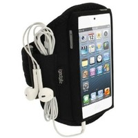iGadgitz Black Water Resistant Neoprene Sports Gym Jogging Armband for Apple iPod Touch 6th Generation (July 2015 onwards) & 5th Generation (2012-2015)
