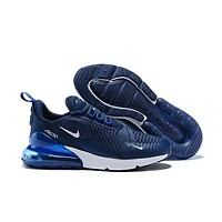 Authentic Hot sale Nike Air Max 270 men and women sneakers shoes White Navy Blue