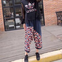 Adidas Casual Simple Cool Camouflage Chiffon Multicolor Stripe Fashion Round Neck Two-Piece Suit Clothes