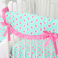 Molly's Mint Baby Bedding   Mint and Pink Crib Rail Cover
