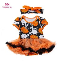 Cute Halloween Kids Clothes Toddler Baby Girls Halloween Pumpkin Bow Party Dress Clothes Dresses Sweet Children Girls Clothes