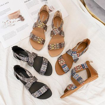 Women's summer new fashion fairy style seaside Bohemian national style one word beach flat shoes