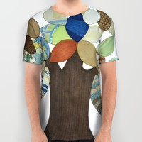 Silver Tree All Over Print Shirt by Erin Brie Art