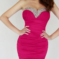 Rose Strapless Ruched Mini Dress