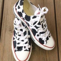 CREYON cow print converse custom hand painted shoes