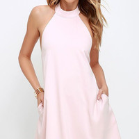 Light Pink Halter Bow Tie Pocket Shift Mini Dress