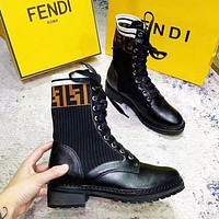 FENDI Fashion Women Classic Stretch Knit Martin Boots