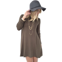 Dew Drop Long Sleeve Shift Dress in Olive