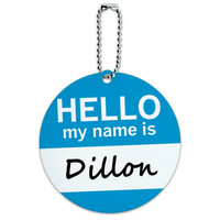 Dillon Hello My Name Is Round ID Card Luggage Tag