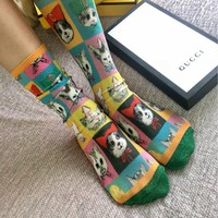 Gucci Cat Pattern Cotton Socks #1126