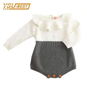 Bratyeessi Baby Girls Boys Rompers Kids Autumn Spring Jumpsuit Cute Newborn Baby Clothes Knitted Bodysuit 0-18 Months