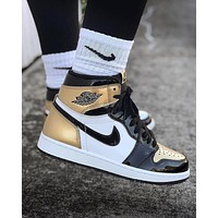 NIKE AIR JORDAN 1 Top3 Popular Women Men High Top Sport Sneakers Shoes Golden