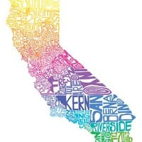 California  tyopgraphy map art print    customizable 8x10 by CAPow
