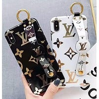LV Louis Vuitton Fashion New Monogram Print Leather Women Men Wrist Band Protective Cover Phone Case