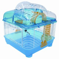 "YML Clear Blue Hamster Cage, 10"" L X 10"" W X 12"" H 