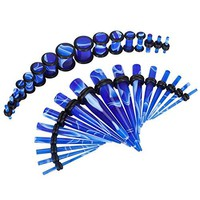BodyJ4You Gauges Kit Tapers Plugs 14G-0G Blue Marble Acrylic Stretching Set 32 Pieces