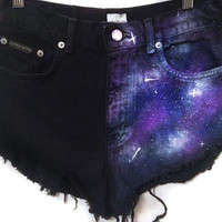 SALE Galaxy print high waisted denim shorts, tumblr shorts, hipster clothes, high waist coachella shorts